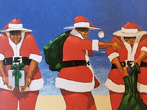 Three Santas Christmas Card