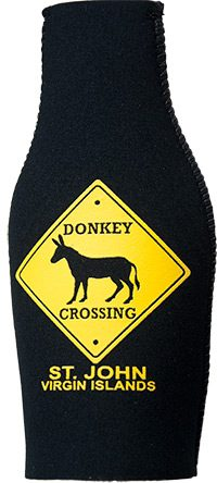 St. John Donkey Crossing Bottle Coozie