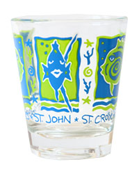 Blue Green Fish Shot Glass (STT, STJ, STX)