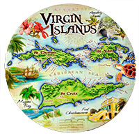 USVI Coasters Antique Map Design