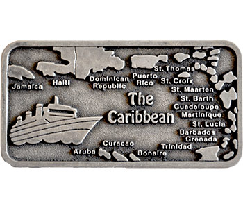 Metal Caribbean Map Magnet