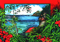 Island Coastline with Poinsettias Holiday Card