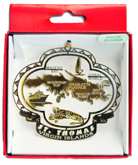 St. Thomas Gold Brass Christmas Ornament