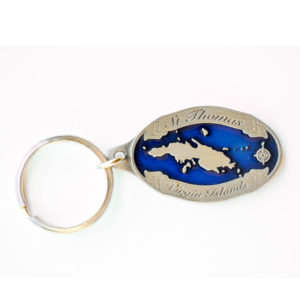 St. Thomas Map Keychain