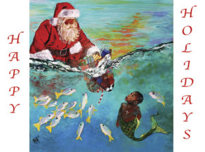 Santa Under the Sea Delivery Christmas Cards