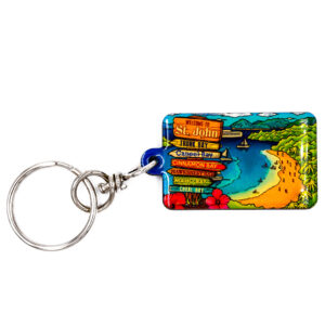 St. John Beach and Sign Keychain